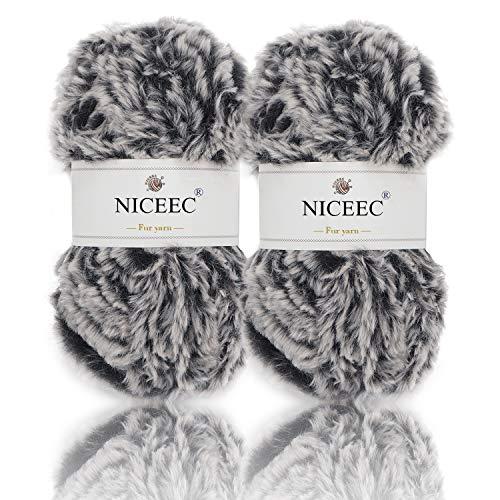 NICEEC 2 Skeins Super Soft Fur Yarn Chunky Fluffy Faux Fur Yarn Eyelash Yarn for Crochet Knit-Total Length 2×32m(2×35yds,50g×2)-Black with White