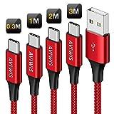 AVIWIS USB Typ C Kabel, [4Pack 0.3M 1M 2M 3M] 3A Nylon USB C Ladekabel & Datenkabel Typ C Schnellladekabel für Samsung Galaxy S10/S9/S8+/A50, Huawei P20/P10/Mate 20, Google Pixel, Sony Xperia XZ