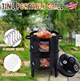 Fasclot Charcoal Water Smoker Grill Outdoor BBQ Barbecue Cooker Backyard Camping Patio