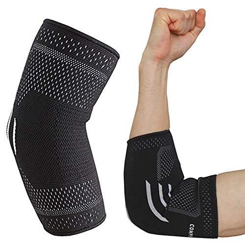 OTTIMA COMPRESSIONE: Forniscono una pressione uniforme, distribuita lungo tutta l'articolazione del gomito. Sostengono, inoltre, l'articolazione del gomito per il recupero e la prevenzione dagli infortuni. Forniscono un moderato sollievo per un'ampia...