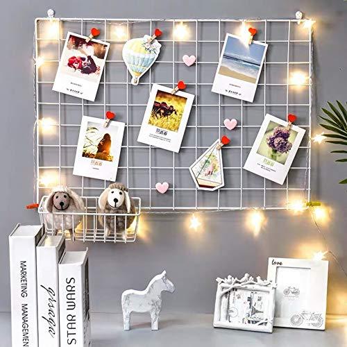 BULYZER - Tablón de alambre de rejilla, para paneles de fotos, decoración de pared para habitación, oficina, fotos, exposición, organizador de escritorio, 65 x 45 cm (2...