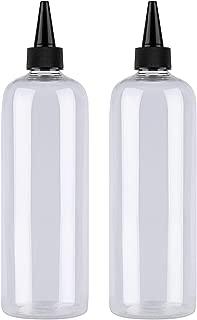 Hair Color Bottle Applicator, Sdootbeauty Applicator Bottle 16 ounce, Squeeze Bottle for Hair, PET Plastic Refillable Bottles with Twist Top Cap-2 Pack,Transparent