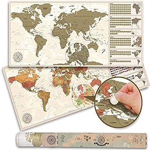 XXL Rubbel Weltkarte Poster - Scratch off World Map 100 x 45 cm