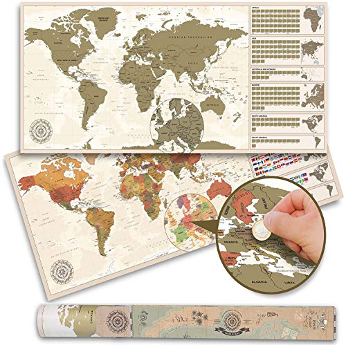 Wereldkaart om te krassen XXL - Vintage wereldkaart - Scratch Off World Map Poster (100 x 45 cm - Made in Germany)