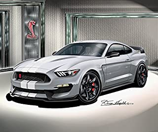 2015 - 2016 FORD MUSTANG SHELBY GT350 R - AVALANCHE GRAY- ART PRINT POSTER BY ARTIST DANNY WHITFIELD - SIZE 24 X 36