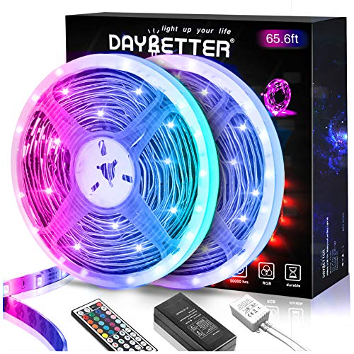 DAYBETTER 65.6ft Led Strip Lights, Lights Strip for Bedroom, Color Changing 5050 RGB Lights, 2 Rolls of 32.8ft LED Lights with 44 Keys IR Remote Controller