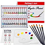 Falling in Art 24 Tubes Acrylic Paint Set with Canvas, Brushes, Palette - 36 Pieces Artist Acrylic Painting Tools Set for Artists, Beginners, Kids