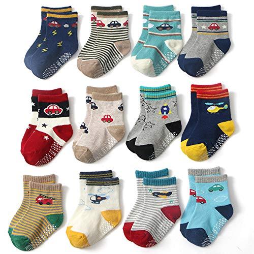 Yafane 12 Paar Baby Socken Antirutsch Anti-Rutsch Neugeborenes Kinder Kleinkinder Babysocken für 0-7 Jahre Baby Jungen und Mädchen (Blau, 3-5 Jahre)