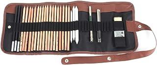 鉛筆 - Delaman デッサン 鉛筆、ペンシル、スケッチ鉛筆セット、素描、美術、絵画、文房具、鉛筆ツール スケッチ、消しゴム、収納ケーズ付き、HB 2H B 2B 3B 4B 5B 6B 7B 8B、子供や大人も適用、デッサン 鉛筆セット、...