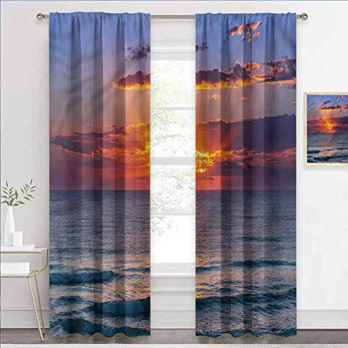 Blackout Curtain Ocean, Sunset Dusk Cloudy Seashore Room Darkening Drape for Kitchen, Bedroom and Living Room W72 x L84 Inch