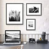 Nature View Pictures Prints Framed - Mysterious Foggy Scenery Photography Black and White Wall Art with Grey Wooden Frame for Bathroom, Living Room, Bedroom, Office 3 Panels
