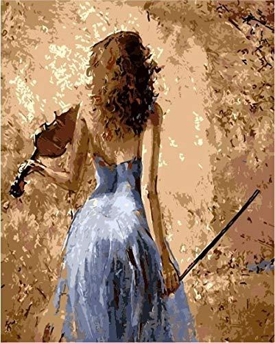DAHUAJIA schilderen op nummers, knutselen, schilderen op cijfers, ballerina, doek, knutselen, olieverfschilderij, handbeschilderd, meisjes, muziek, decoratie thuis 40x50cm Wood frame