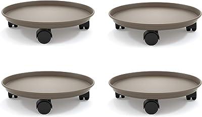 Heeler Set di 4 contenitori per Piante, con Ruote, per vasi da Fiori, per Interni, con rotelle (4 Pezzi), Earthen, 14inch 4Pcs