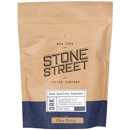 Stone Street Knee Buckling Espresso Coffee, Ground, High Caffeine Blend, Dark Roast, 1 LB