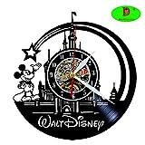 Meet Beauty Ding Horloge Murale en Vinyle Disque Mignon Mickey Mouse Walt Disney Créatif Chambre Art Décor- Unique Cadeau Noël À La Main pour Garçons Filles Halloween (30Cm Noir Rond)
