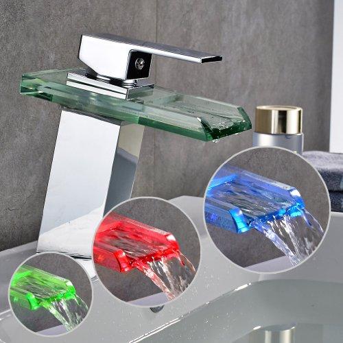Auralum Glas Wasserhahn Waschbecken Armatur Waschtischarmatur LED RGB Licht und Modell Wählbar (Type B, mit LED RGB Licht) - 9