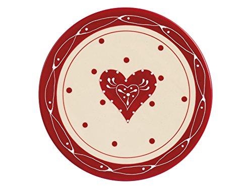 H&H Madeleine Piatto Torta Ceramica, Bianco/Rosso, 30 cm