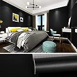 VEELIKE Papel Pintado Pared Rollo Papel Pared Impermeable de Vinilo Muebles Vinilo Papel Adhesivo Negro Mate para Dormitorio Sala Encimera Cocina Muebles 40cm x 300cm