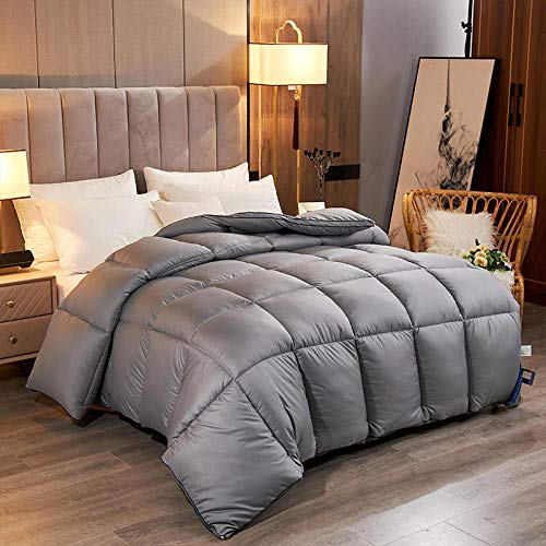 Duvets King size Quilt White Goose Feather and Down Duvet with 100% Cotton Down-Proof Fabric All Seasons Super king Duvet-gray_180x220cm-2kg