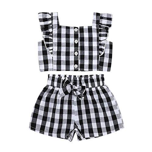 jerferr Kleinkind Kinder Baby Mädchen Schulterfrei Plaid Tops Shorts Elastische Taille Outfits Set