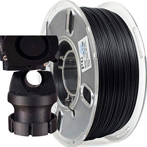 PRILINE Filamento de fibra de carbono de policarbonato 1 kg 1,75 para impresora 3D, precisión dimensional +/- 0,03 mm, carrete de 1 kg, 1,75 mm, color negro