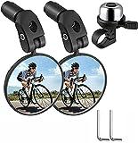 otutun Espejos de Bicicleta Manillar y Timbre para Bicicleta , 2 Piezas Bicicleta Manillar Espejo Retrovisor 360 Grados , Timbre para Bicicleta para Bicicleta de Montaña Ciclismo