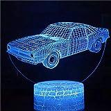 Modisches Technologie-Auto, Sportwagen, Renn-LED, 3D-visuelles Licht, kreative Dekoration kleine Tischlampe, Acryl mehrfarbiges kleines Nachtlicht, kreative kleine Tischlampe
