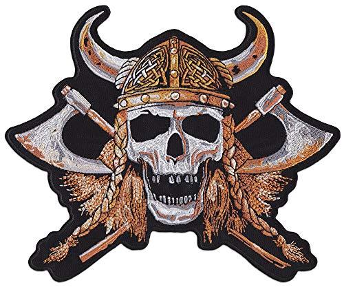 Parche de calavera vikinga para coser o planchar, Negro, Klein