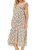 Zexxxy Nachthemd Damen Kleider Vintage Rüschen Ärmellose Schlafanzugoberteile Nachtwäsche Nachthemd Floral L