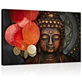 Buddha Canvas Wall Art Wood Buddha Statue Canvas Prints Keep inner Peaceful Buddha Artwork for Living Room Yoga Room (32'x48')