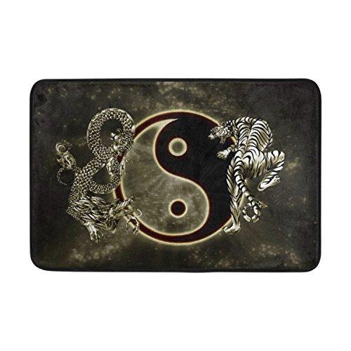 JSTEL Tapis de porte lavable en intérieur et extérieur avec dos antidérapant Motif dragon chinois Tai Bagua Yin Yang Noir et blanc 23,6 x 39,9 cm