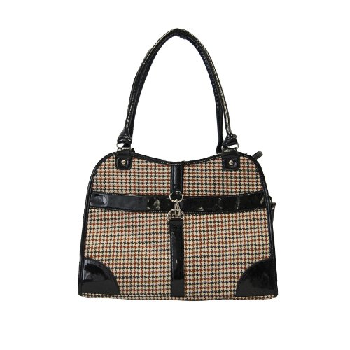 Anima Houndstooth Purse Carrier, 13.5-Inch by 6.5-Inch by 10.5-Inch, Brown
