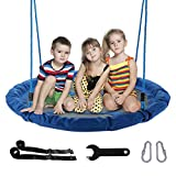 CO-Z Saucer Tree Swing Large 40 Inches Round Saucer Swing Set for Tree with Steel Frame and 2 Adjustable Hanging Straps (Blue)