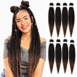 Pre stretched Braiding Hair 26inch 8 packs Hot Water Setting Professional Box Braid Yaki Texture Soft Itch Free Synthetic Fiber Crochet Twist Braids Hair Extensions (1B/30)