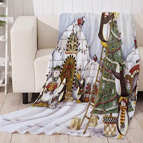 Muñeco de Nieve de Invierno Manta Reversible de Franela & Sherpa , Manta de Felpa Suave para Sofá Cama, Microfibra Manta de para sofá Cama 70x100cm