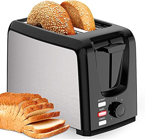 Toaster 2 Slice Best Rated with Bagel/Defrost/Cancel Function Cool Touch Toaster Black with Removable Crumb Tray for Bread Bagel