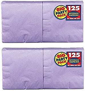 Amscan Big Party Pack 250 Count Beverage Napkins, Lavender