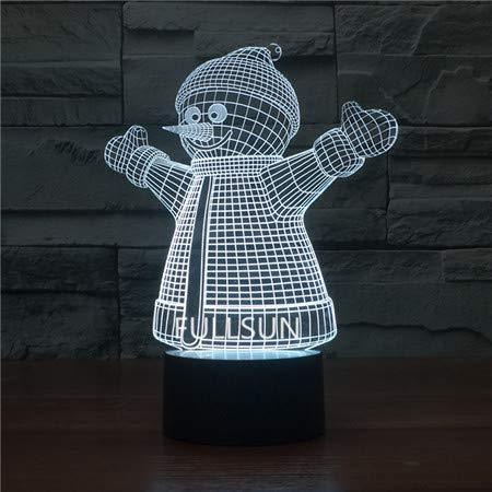 Décoration de Noël Veilleuse Neige Artificielle Père Noël Arbre de Noël 7 Touch Couleur Lampe 3D Cadeau, Bonhomme de neige