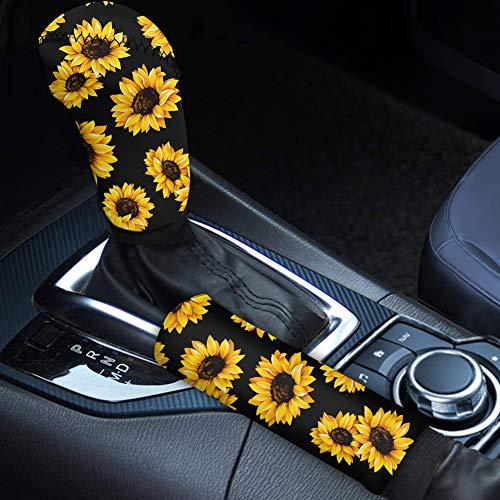 Babrukda Car Interior Accessiores for Women - Gear Shift Knob Cover / Handbrake Cover Yellow Sunflower Pattern Easy Install Anti-Slip Universal Case Sleeve Hand Protect Auto Decor 2 pcs