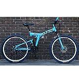 Unisexe Vélo de Montagne 21 Vitesses Vélo Pliant à Double Suspension, Roues de 24 Pouces avec Double Frein à Disque, pour étudiant, Enfant, Ville de Banlieue pour Adulte,Blue