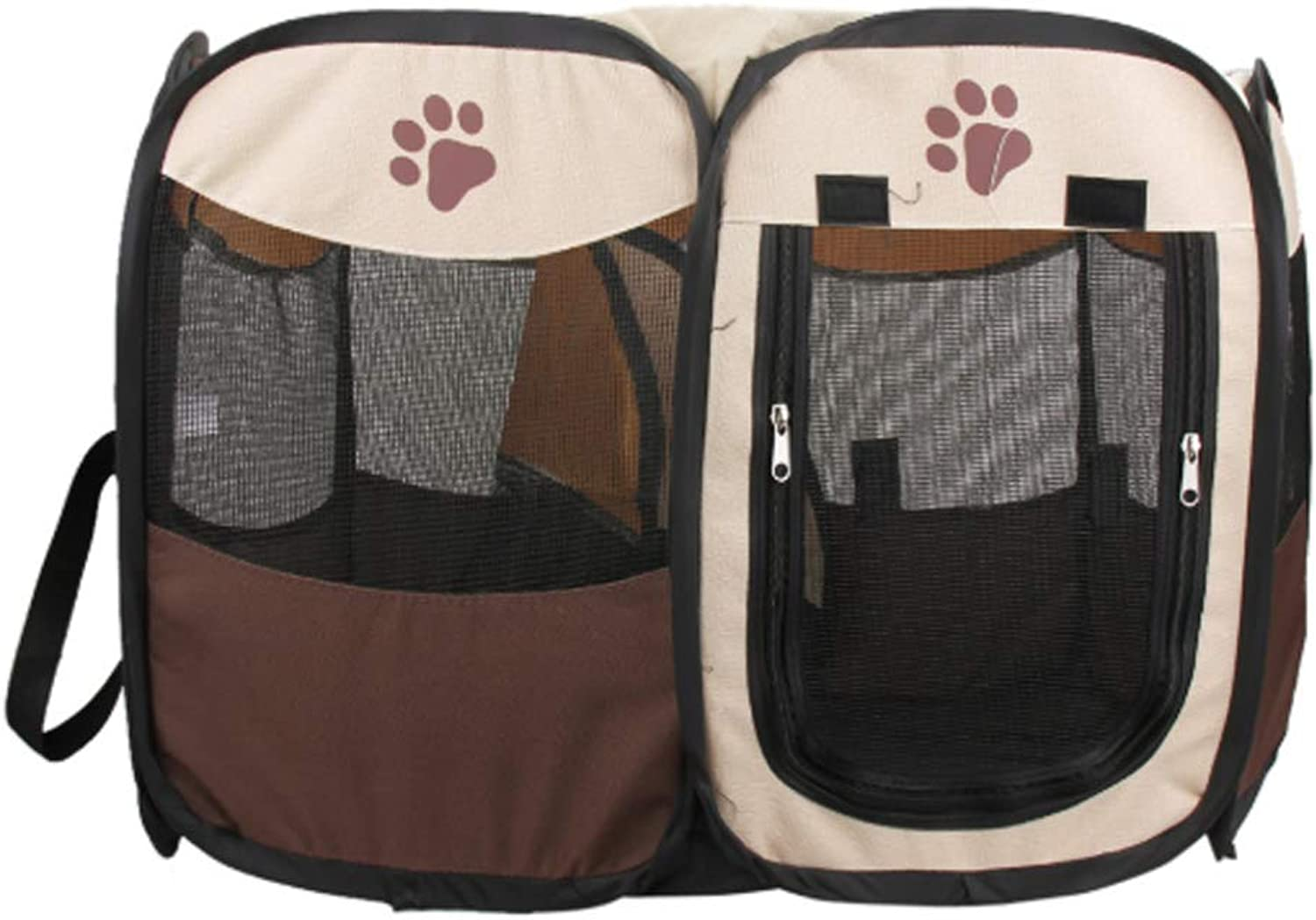 HENRYY Octagonal pet tent pet fence small and medium pet cage dog cageBrownL