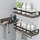 LYNNC 3 in 1 Rustic Floating Shelves, Decorative Storage Shelves with Towel Bar, Wall Moun...