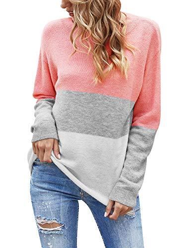 Woolen Bloom Jersey Punto Mujer Suéter Suelto Bloque de Color Informal Camisa Cuello Redondo Rayas Ligeras Manga Larga Camisetas Tops Pull-Over Suéter Mujer Primavera Otoño Invierno
