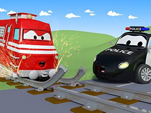 Der Zug und Streifenwagen Feuerwehrauto und Polizeiauto