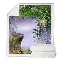 ブランケット・毛布おとぎ話の森の蝶の印刷シェルパソフトフリーススローブランケットぬいぐるみキルトピクニックキャンプ旅行ホームブランケット(A)150*200 CM