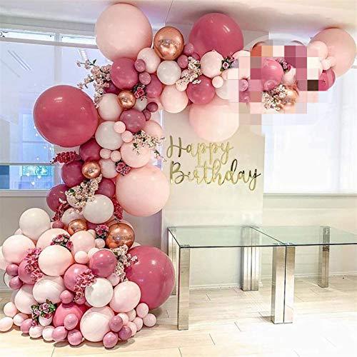 JSJJAES Globos 90 unids Rosa y Rosa Globo Arco Guirnalda Kit para Boda Ducha Nupcial Baby Shower cumpleaños breankening teleddroop Party Decor (Color