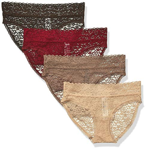 Amazon Essentials Women's 4-Pack Lace Stretch Bikini Panty, Nude, M