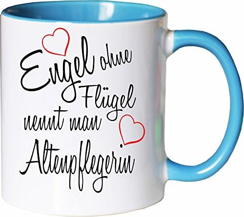 Mister Merchandise Becher Tasse Engel ohne Flügel nennt Man Altenpflegerin Kaffee Kaffeetasse liebevoll Bedruckt Beruf Job Geschenk Weiß-Hellblau