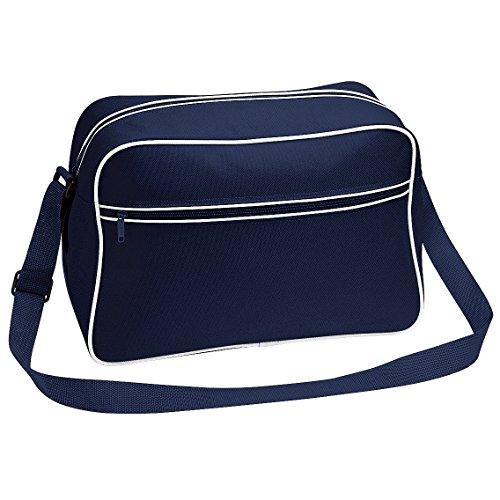 BagBase Retro Schultertasche mit verstellbarem Riemen, 18 Liter (Einheitsgröße) (Dunkelblau/Weiß)