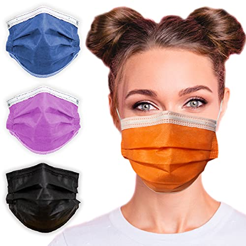 3-Ply Breathable Disposable Face Mask (Tangerine Orange) - Made in USA - Comfortable Elastic Ear Loop   Non-Woven Polypropylene   Block Dust & Air Pollution   For Business and Personal Care (10pcs)